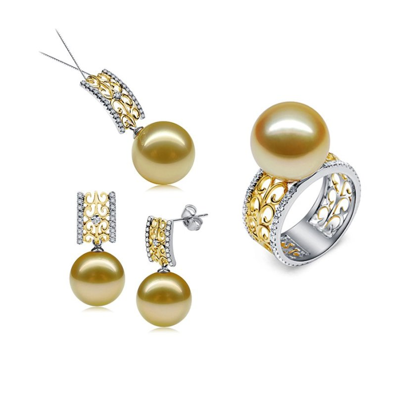 Bộ trang sức ngọc trai nước mặn bạc cao cấp ST4006