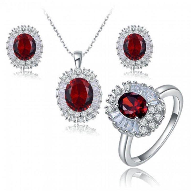 Bộ trang sức nữ đính đá đỏ bạc trắng cao cấp thương hiệu Roxi