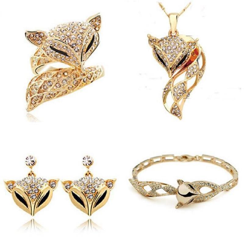 Bộ trang sức nữ hình con cáo hợp kim mạ vàng