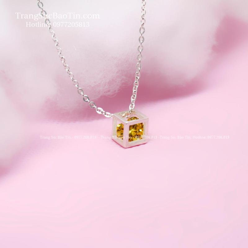 Dây Chuyền Bạc Nữ Mặt Lập Phương Chất Liệu Bạc Ta Cao Cấp (vàng)