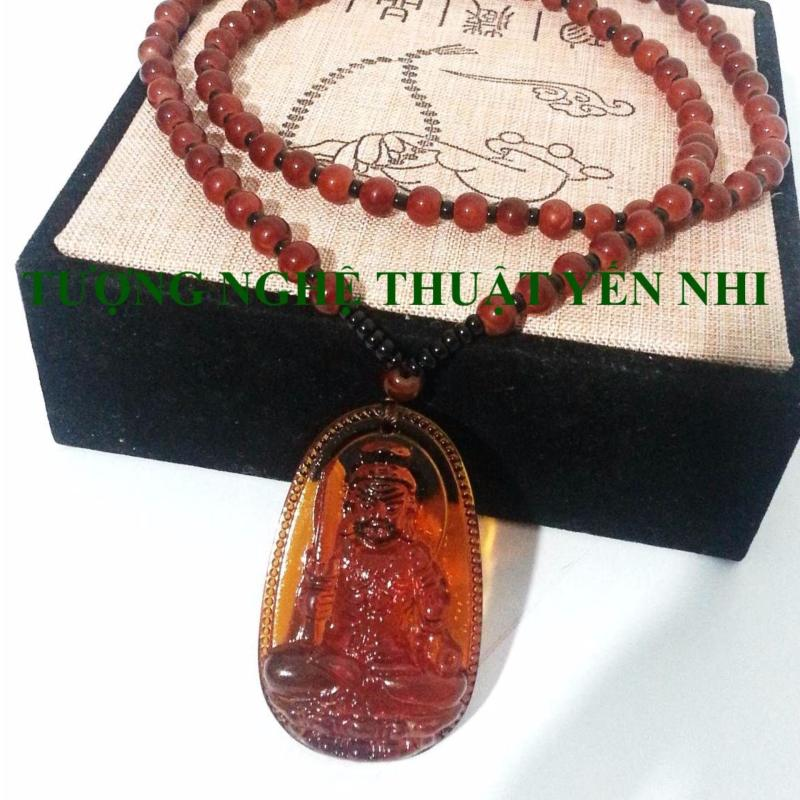Dây chuyền đá Bất Động Minh Vương pha lê cam mặt 5x3cm ( Phật bản mệnh tuổi Dậu)