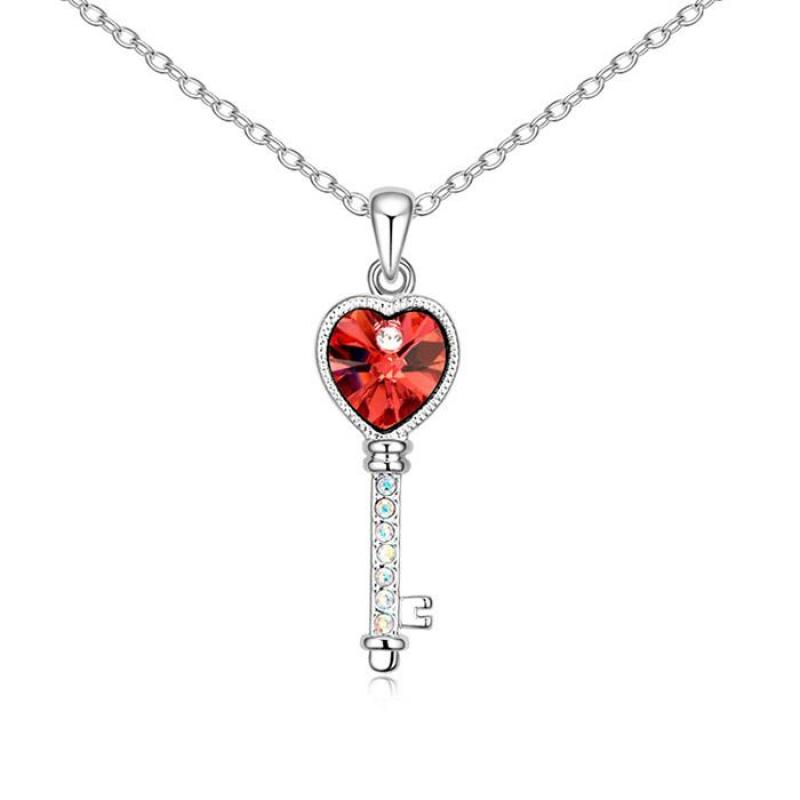 Dây chuyền mạ bạch kim chìa khóa trái tim pha lê Cao cấp qcn14588(Cam)