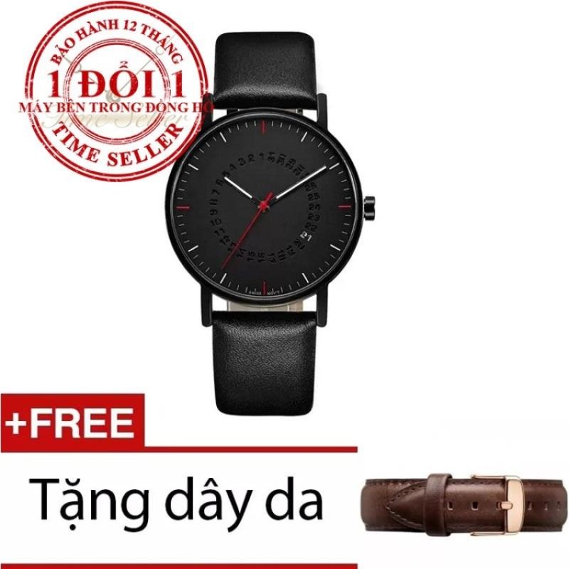 Mua Đồng hồ nam dây da Time Seller TS27 (Đen) + Tặng dây da sắc ngẫu nhiên