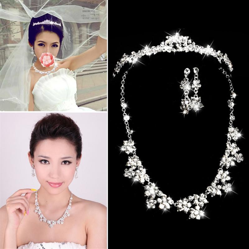 Elegant Luxurious Diamante Rhinestone Necklace Earring Crown Set  Wedding