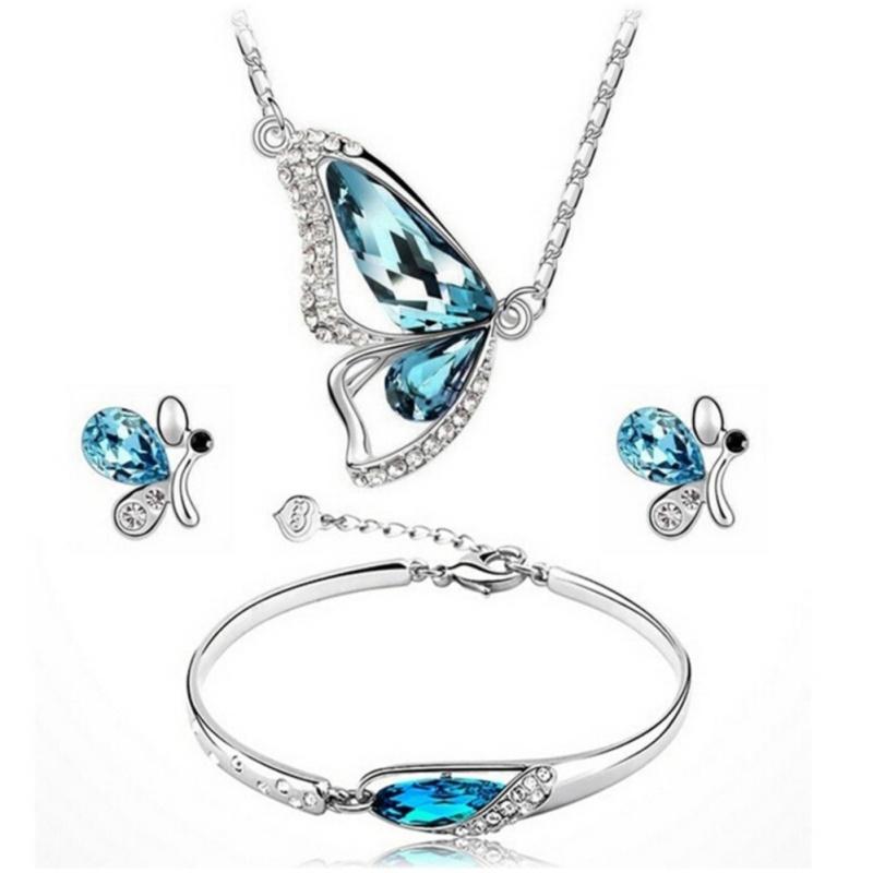 Fashion Butterfly Jewelry Sets Necklace + Earring+Bracelet Crystal Set - intl