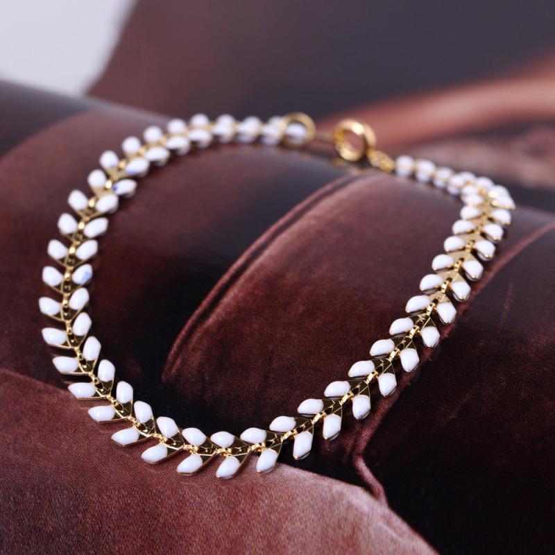 Fashion Gold Plated White Classic Leaf Bracelet Bangle - intl