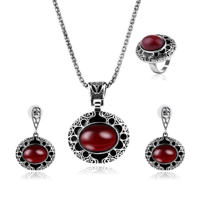 IMIXLOT Fashion Women Silver Oval Ruby Jewelry Set - intl