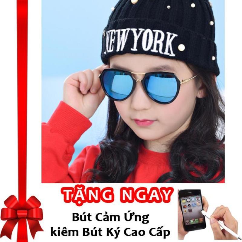Giá bán Kính mát thời trang đa giác cao cấp dành cho bé yêu Kids Love Korea 2017 F215 (Xanh) + Tặng bút cảm ứng kiêm bút ký