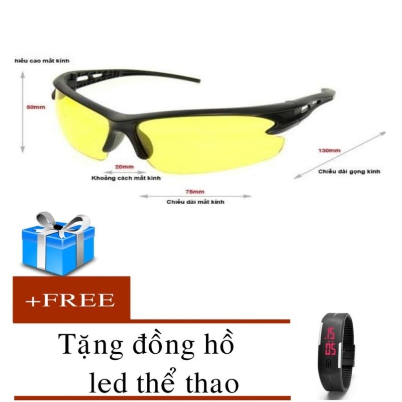 Mua kính mắt thời trang quyến rủ đẹp mắt 2017 ( vàng)+ đồng hồ led silicon (đen)