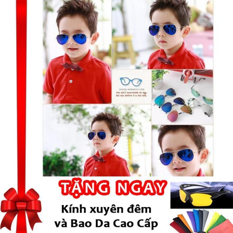 Giá bán Kính thời trang phản quang cực chống tia UV siêu đáng yêu cho bé Korea Kids 2017 F171 (Xanh) + Tặng kính xuyên đêm và bao da cao cấp