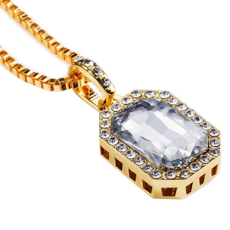 """Leegoal Mens14k Gold Plated Iced Out Clear Ruby Octagon Hip Hop Accessories with 3mm Pendant 24"""" Rope Chain Street Style - intl"""