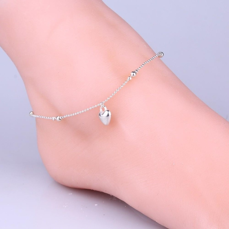 Love Peach Heart-Shaped Beads Anklet Foot Chain - intl