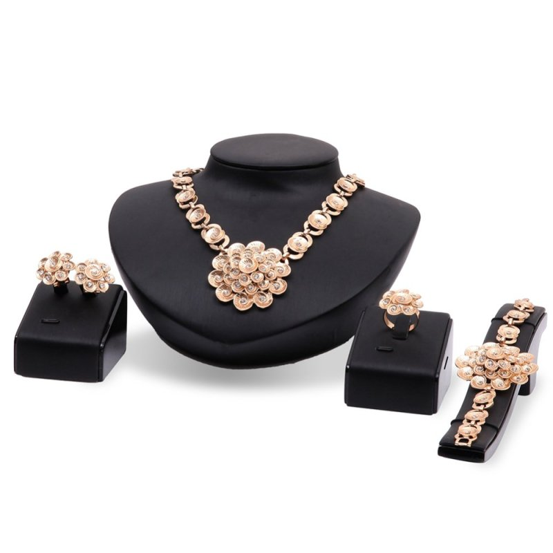 Rich Long 18K Gold Plated Women's Vintage Wedding Party Rhinestone Necklace & Earrings & Bracelet & Ring Jewelry Sets - intl