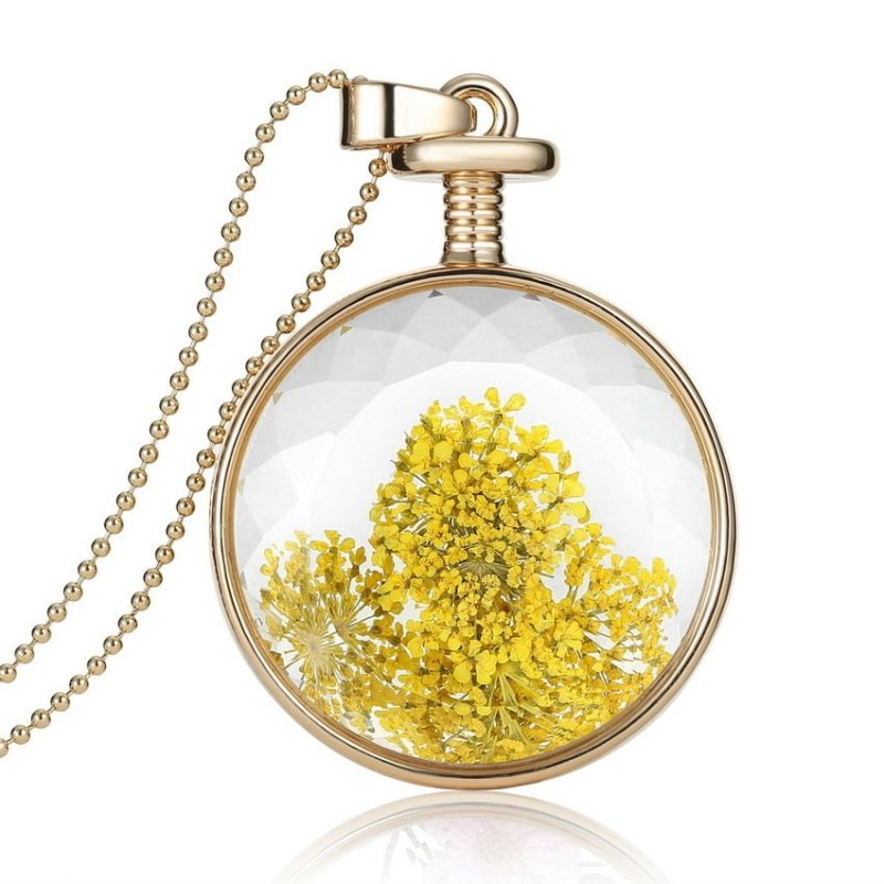 RIS Fashion Dried Flower Clear Glass Locket Pendant Necklace Gold Chain 25# - intl