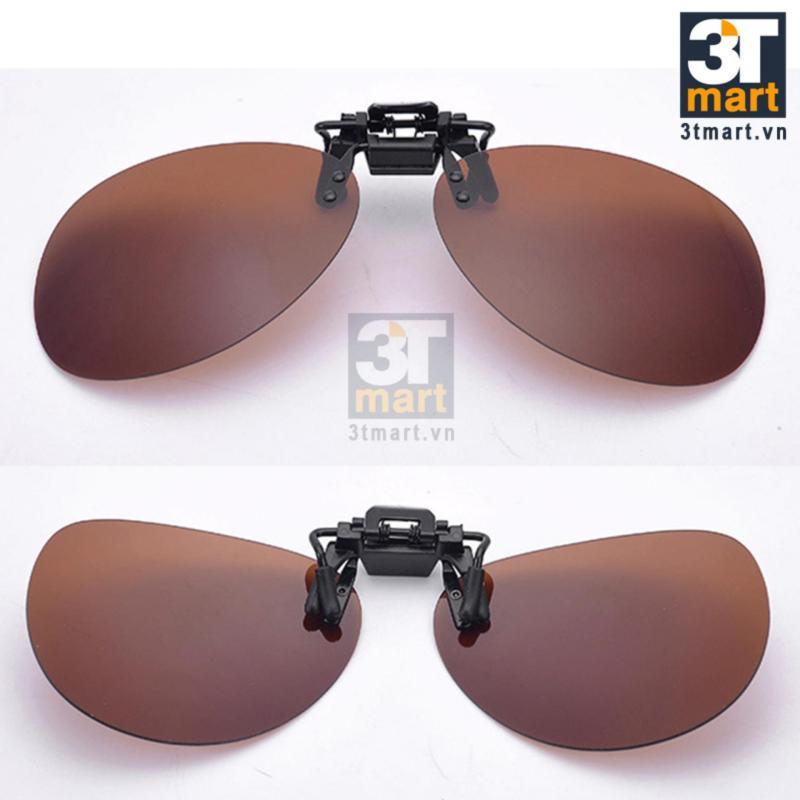 Giá bán Tròng kính mát kẹp chống lóa đèn xe ban đêm cho người cận 3Tmart OV01V (Vàng)