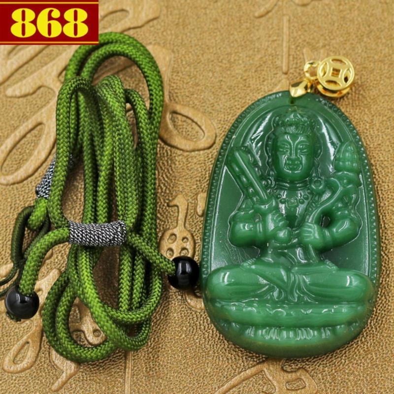 Vòng cổ Hư Không Tạng Bồ Tát 5 cm - đá ngọc tủy xanh