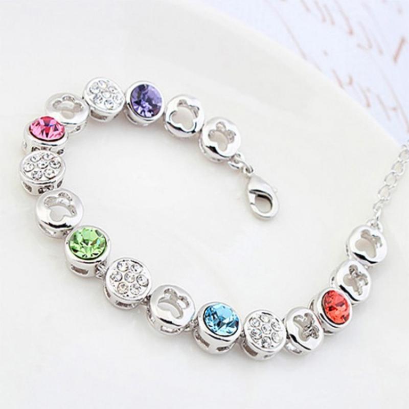 Vòng đeo tay pha lê hoa mận ngũ sắc đẹp thời trang qcb17915