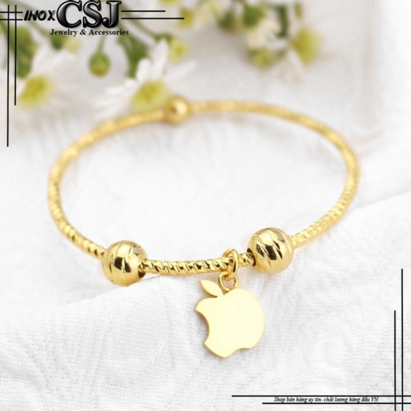 Vòng - lắc tay inox nữ thời trang mạ vàng 24k mẫu LT317 cao cấp đẹp giá rẻ