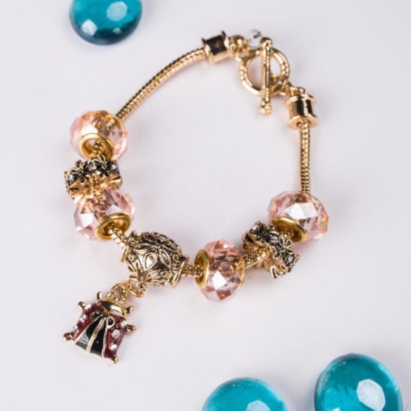 Vòng tay Charm 3D hồng mạ vàng thời trang