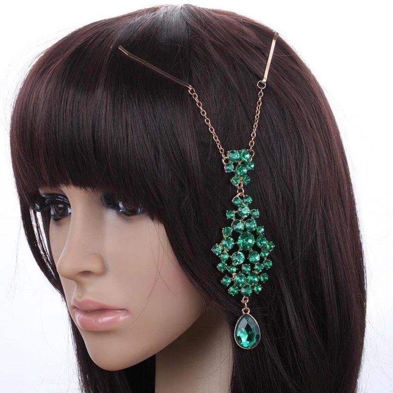 Yazilind Ethnic Style women Green Rhinestones headdress - intl