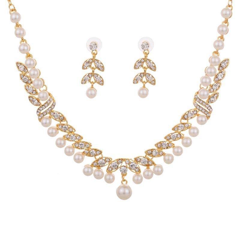 Yazilind Women's Bridal Wedding Prom Yellow Gold Leaf Bib Crystal Inlay Collar Necklace Earrings Jewelry Set - intl