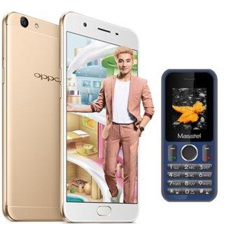 Bộ 1 OPPO F1s Ram 3GB-32GB (Vàng Đồng) + 1 Masstel A12 - Hãng Phân phối chính thức