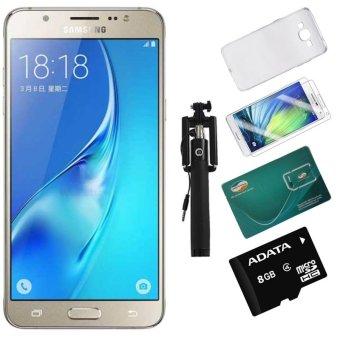 Bộ Samsung Galaxy J5 16GB 2016 (Vàng) - Hàng nhập khẩu + Thẻ Nhớ 8Gb +sim viettel + Ốp lưng + dán Cường Lực + Gậy Chụp Hình