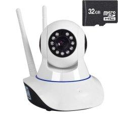 Camera giám sát và báo động 2 ăng-ten IP PK11 kèm thẻ nhớ 32G (Trắng)