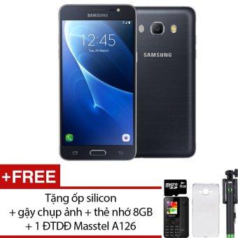 Samsung J7 2016 16GB (Đen) - Hàng nhập khẩu + Tặng ốp lưng silicon + gậy chụp ảnh + thẻ nhớ 8GB + 1 ĐTDĐ Masstel A126