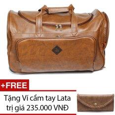 Túi du lịch cần kéo LATA TR04 (Da bò đậm ) + Tặng 1 Ví cầm tay Lata