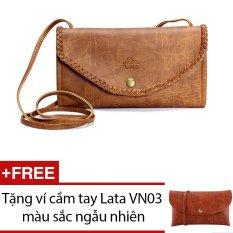 Ví cầm tay LATA V01 (Da bò nhạt) + Tặng 1 ví cầm tay Lata VN03
