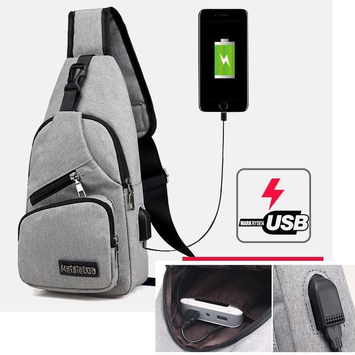 Túi đeo chéo nam cao cấp tích hợp cổng sạc USB ngoài Nhật Bản