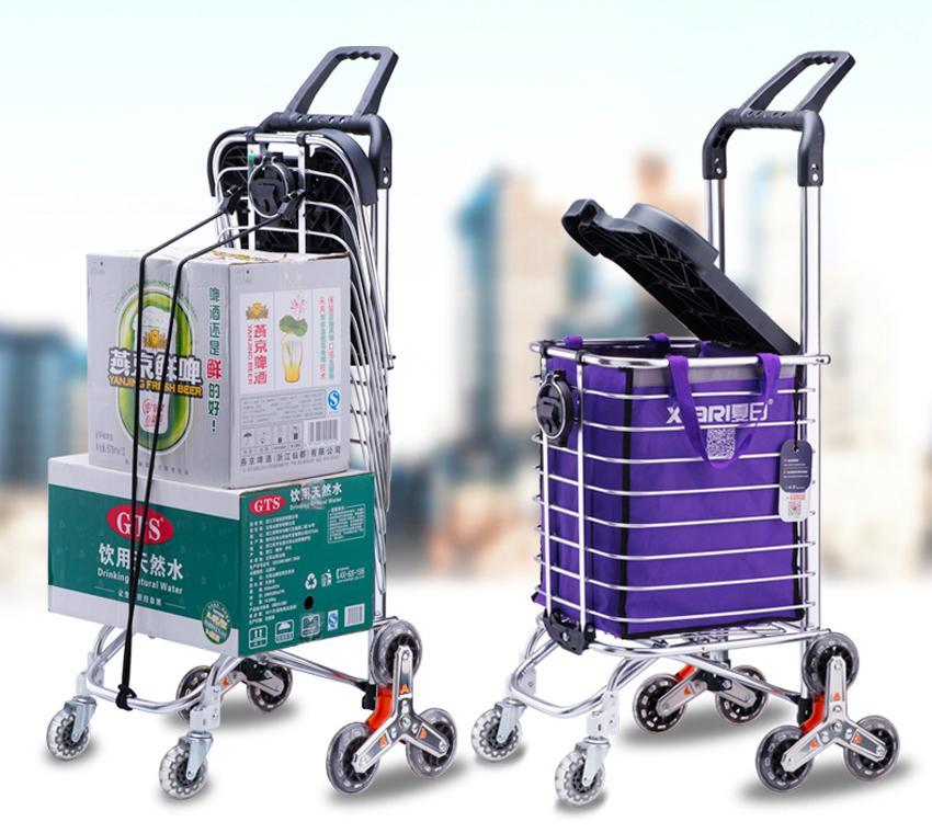 Mua Xe Keo Đẩy Leo Cầu Thang 6 Banh Gấp Gọn Inox K Market Model 602 Co Nắp Đậy Tặng Tui Đựng Đồ Tiện Lợi Kd