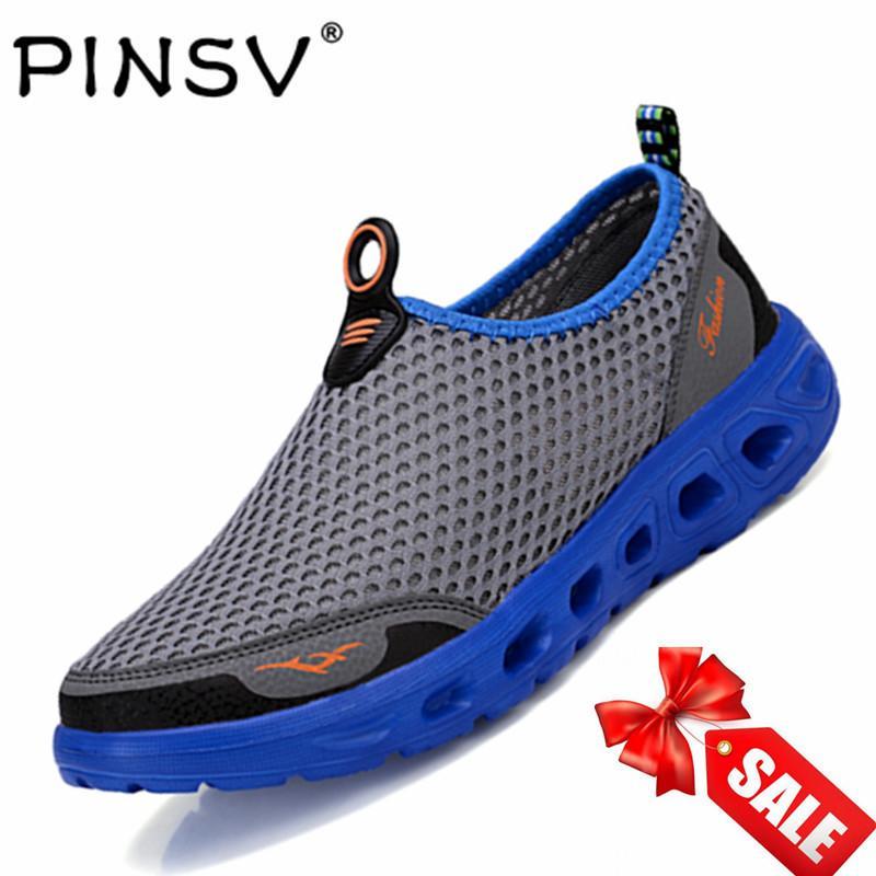 Pinsv Jala Pria Bernapas Sepatu Olahraga Sepatu Olahraga Air (Abu-abu)