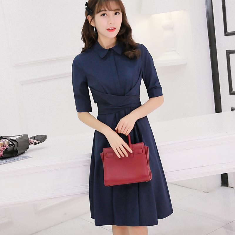cfbc679e9195 CALAN DIANA Women's Korean-style Mid Long Sleeve Dress