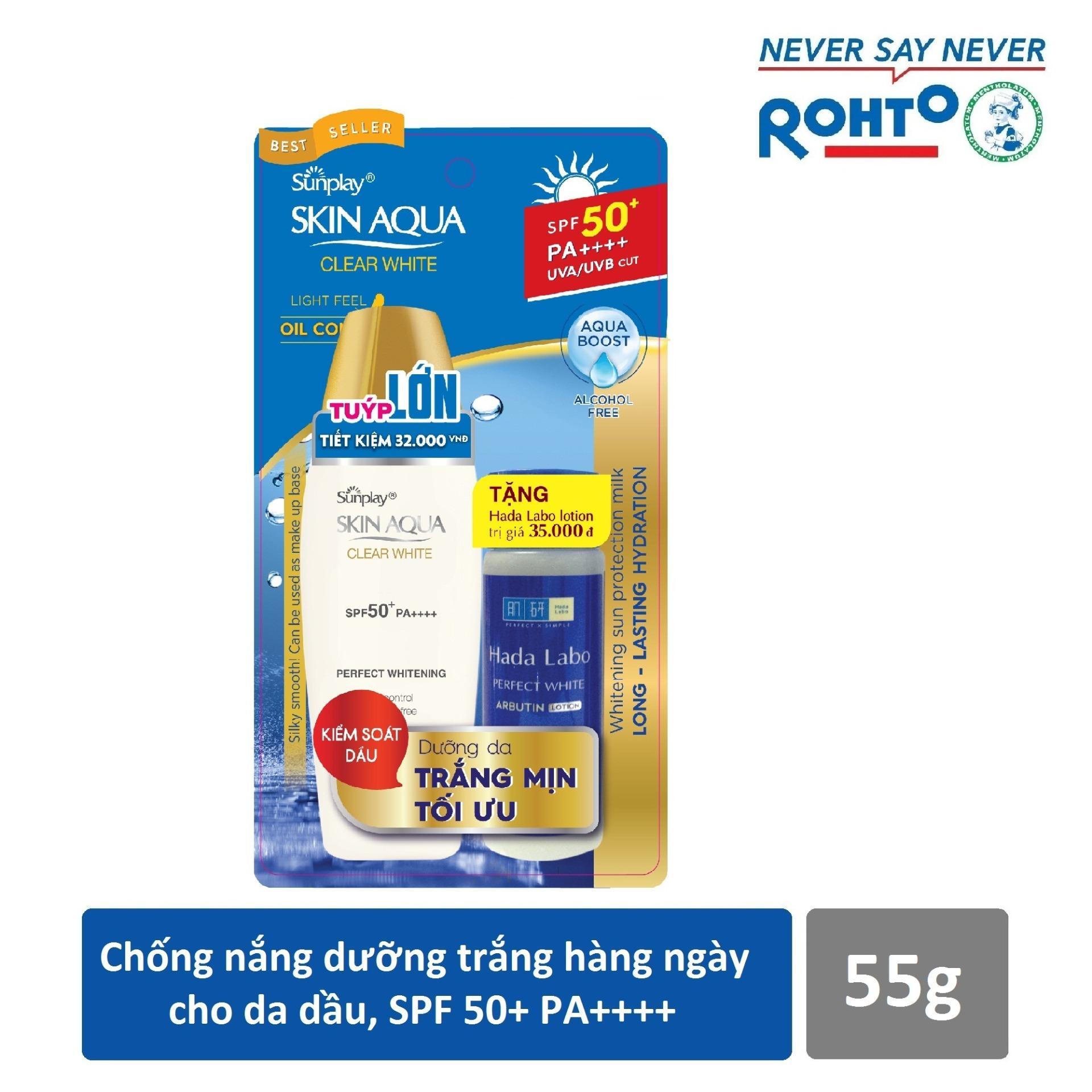 Giá Bán Sữa Chống Nắng Hằng Ngay Dưỡng Trắng Sunplay Skin Aqua Clear White Spf 50 Pa 55G Tặng 1 Dung Dịch Dưỡng Hada Labo Perfect White 40Ml Sunplay Vietnam