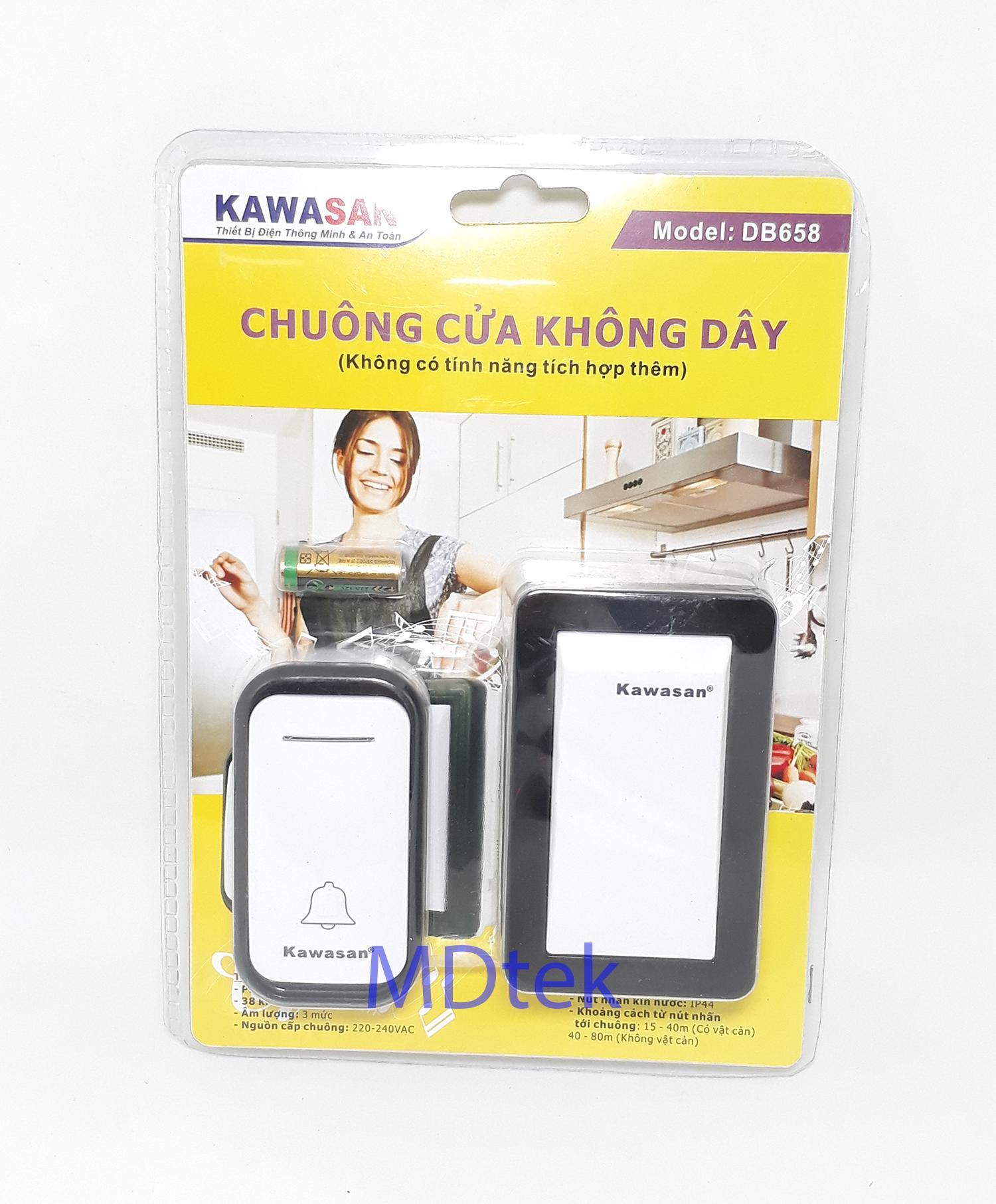 Chuông cửa không dây cao cấp Kawa DB658 (Dùng pin)