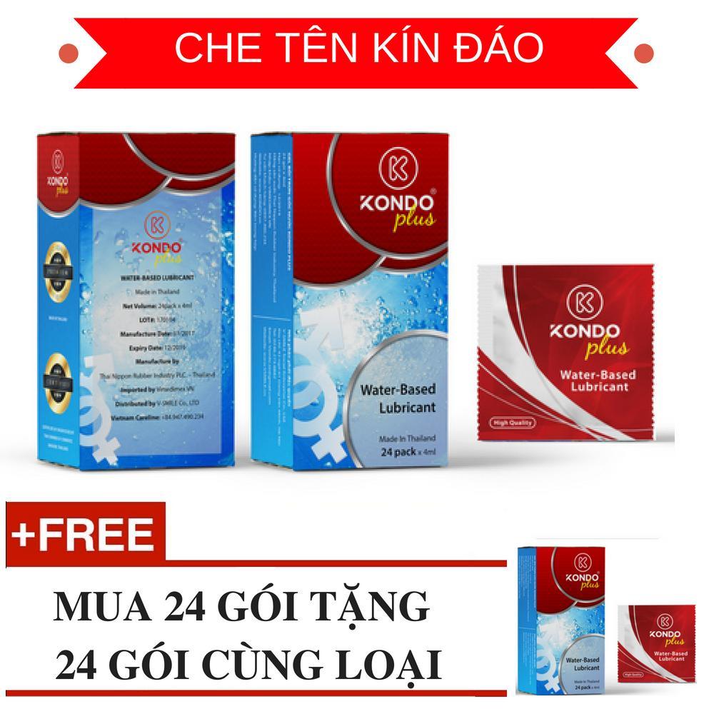 Hình ảnh Hộp 24 Gói gel bôi trơn cao cấp nhập khẩu Thái Lan KONDO PLUS tặng 24 gói cùng loại - AdamZone