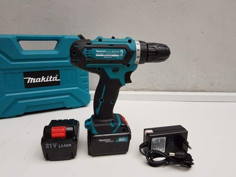 Máy khoan pin Makita 21V, bắn vít, khoan sắt, gỗ, bê tông-Thái lan,(xanh
