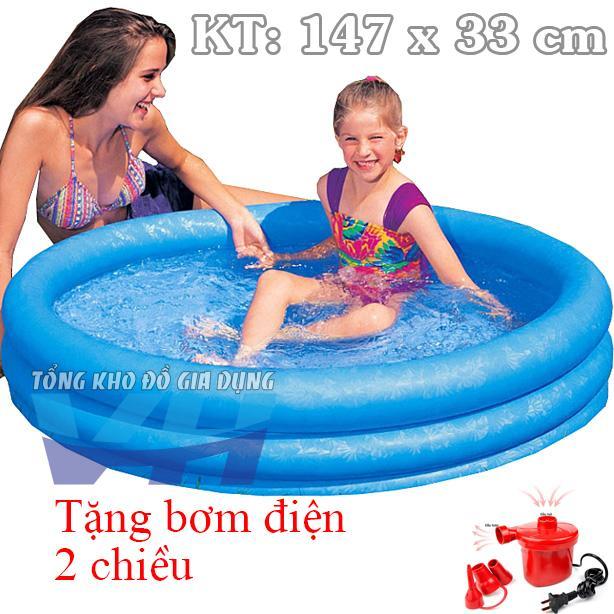 Bể Intex 58426 cho trẻ nhỏ 3 tầng 147x33 cm + Bơm điện 2 chiều