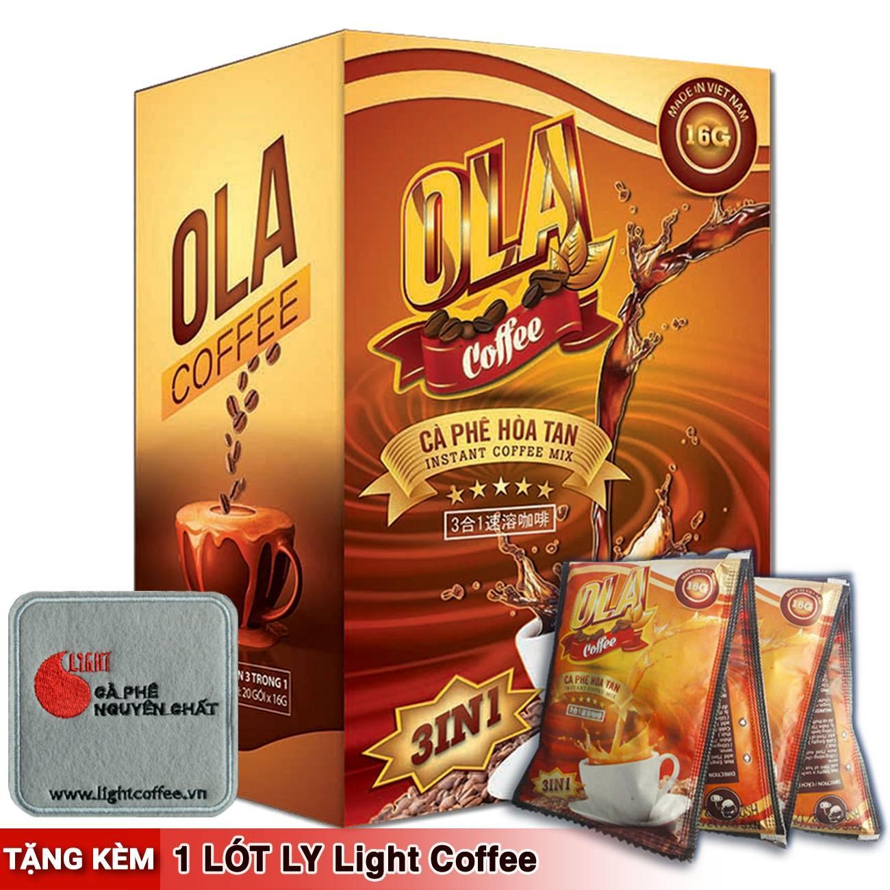 Cà Phê Hòa Tan 3 In 1 Nguyên Chất 100% - Ola Coffee - Hộp 18 Gói