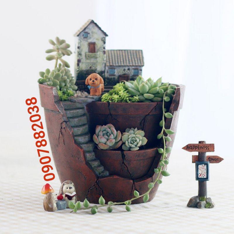 Chậu trồng cây nhiều ngăn, hình nhà cao tầng