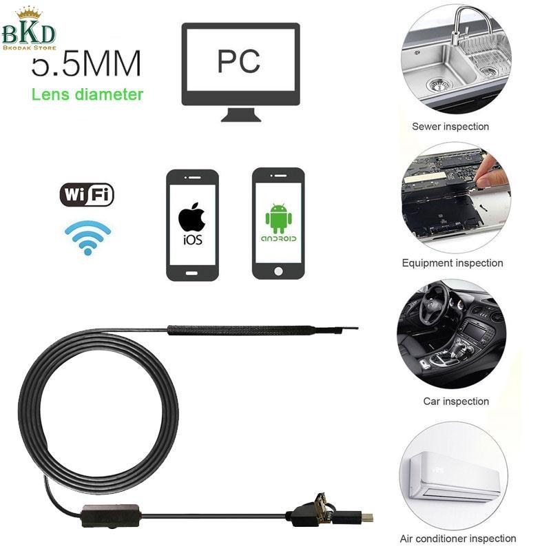 Bkodak Store XP W7 W8 1.5M 5.5mm 6LED 3in Inspection Camera Borescope Endoscope
