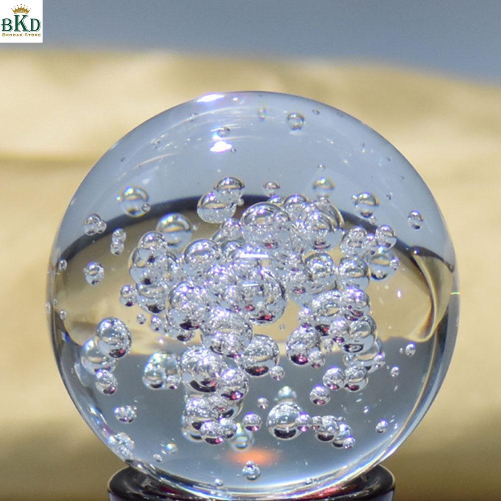 Hình ảnh 8cm Artificial Crystal Glass Ball Bubble Transparent Home Figurines Decoration