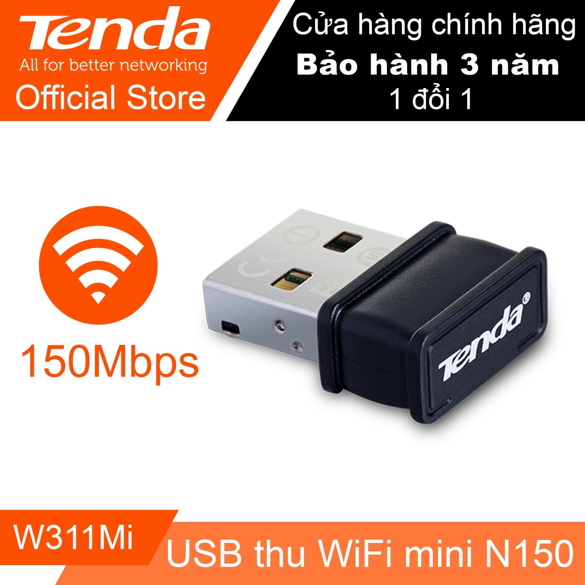 Hình ảnh USB thu sóng Wifi tốc độ 150Mbps Tenda W311Mi (Đen) - Hãng Phân phối chính thức