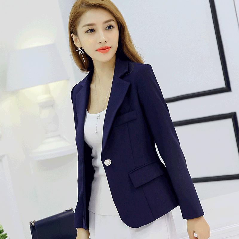 Blazers Cheap Sale New Spring Autumn Blazer Suit Women Korean Slim Show Thin Solid Ladies Blazers Suit Gray Blue Green White Small Suit Work Wear