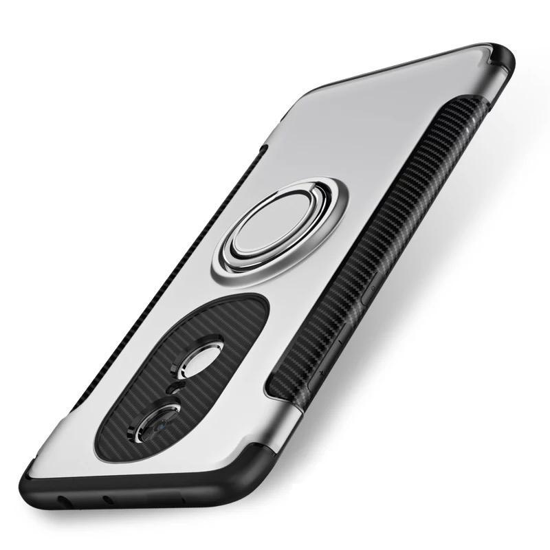 Untuk Xiaomi Redmi Note 4X Case Luxury Magnetic Armor Casing Pelindung Silikon Cincin Logam Wadah Sarung Telepon Genggam