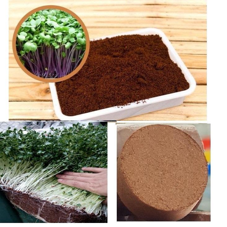 Đất sạch mùn dừa trồng rau dạng viên nén 0.4Kg/viên (Thùng 24 viên)