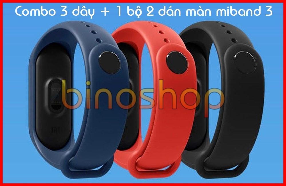 Hình ảnh Bộ 3 dây đeo miband 3 + bộ 2 dán màn miband 3