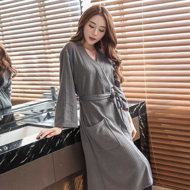 ab2e0246be Waffle Bathrobe Female Summer Thin Section Couples s Nightgowns    Sleepshirts Men Hotel Beauty Salon Water Absorption